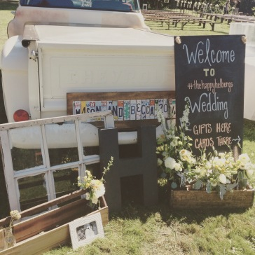 I made this license plate sign on the foot of this truck for my brother-in-laws wedding. I love how they staged it to welcome everyone to their wedding ceremony!